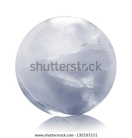 Frozen ice sphere isolated - stock photo