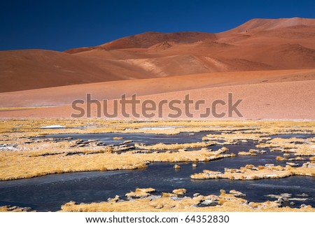 frozen lagoon in Atacama desert, Chile - stock photo