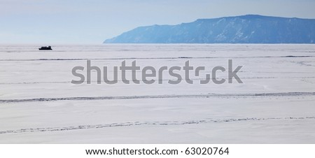 Frozen Lake Baikal - stock photo
