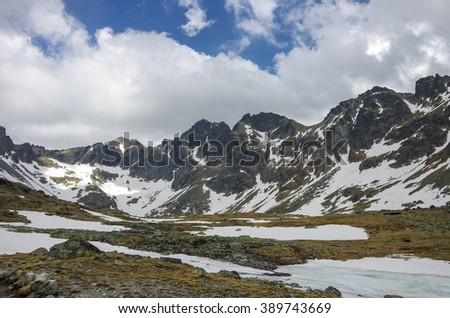 Frozen lake in the High Tatra Mountains near Rysy peak and Strbske Pleso, Slovakia