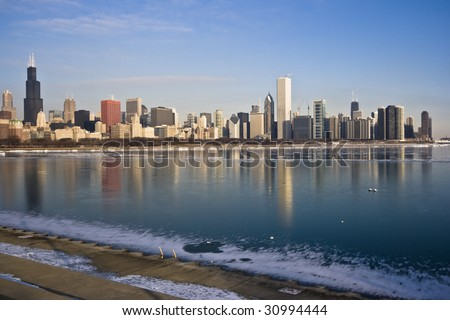 Frozen Lake Michigan in Chicago, IL. - stock photo