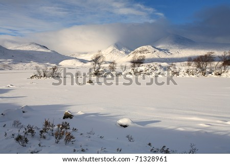 Frozen landscape in the Scottish Highlands. - stock photo