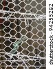 Frozen Mesh Fence close up - stock photo