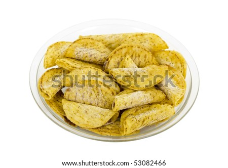 Frozen Mexican chicken/beef mini tacos on plate; isolated, clipping path included - stock photo
