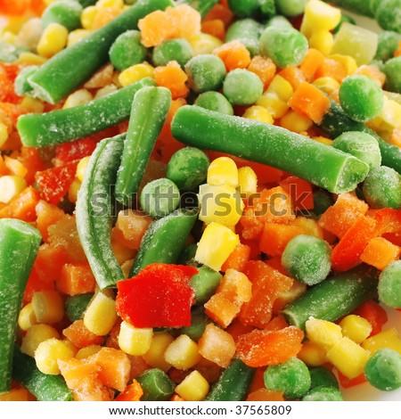 Frozen mixed vegetables - stock photo