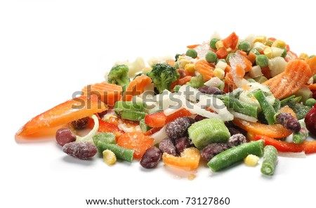 frozen mixed vegetables in white background - stock photo