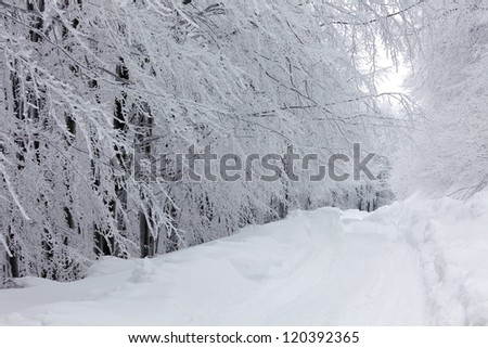 Frozen mountain landscape - stock photo