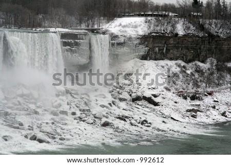 Frozen Niagara Falls - stock photo