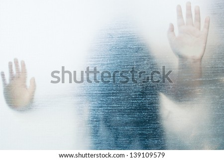 Frozen No.2,Ghost Girl On Glass - stock photo