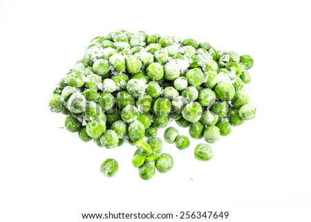Frozen peas isolated on the white background - stock photo