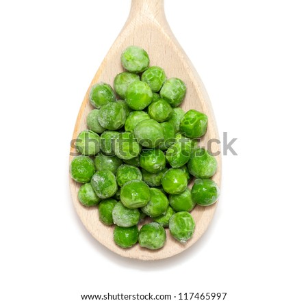 frozen peas isolated on white background