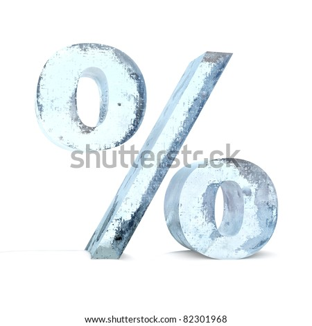 Frozen Percentage Sign - stock photo
