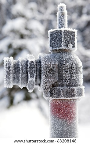 Frozen pipe end - stock photo
