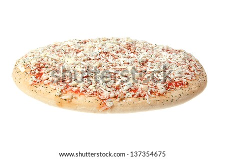 Frozen pizza on a white background.
