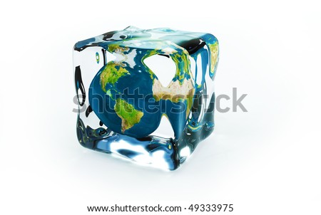 frozen planet in ice cubes - stock photo