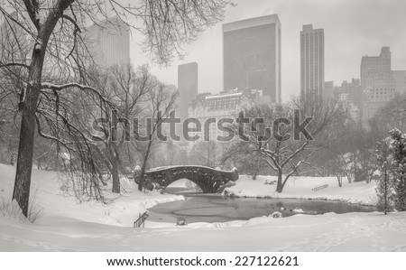 Frozen Pond and heavy snowfall in Central Park with a view of Gapstow Bridge and Manhattan high-rises and skyscrapers blurred by the snowstorm. New York wintertime scene. - stock photo