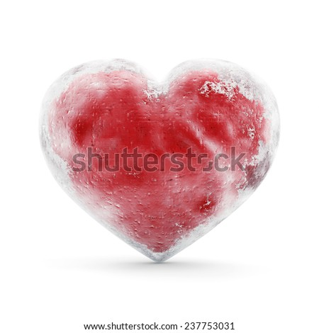 Frozen Red Heart isolated on white background. St Valentine's Day and Love Concept - stock photo