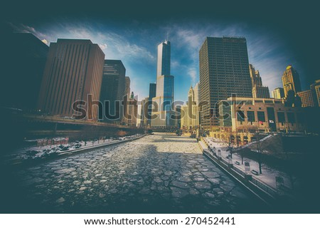 Frozen River perspective view of a city skyline