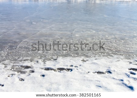 frozen riverbank in sunny cold winter day