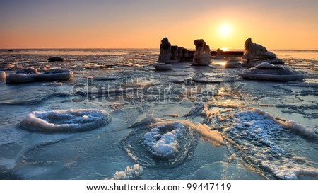 Frozen sea - stock photo