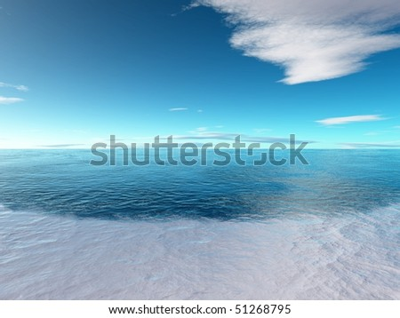 Frozen sea with nice blue sky