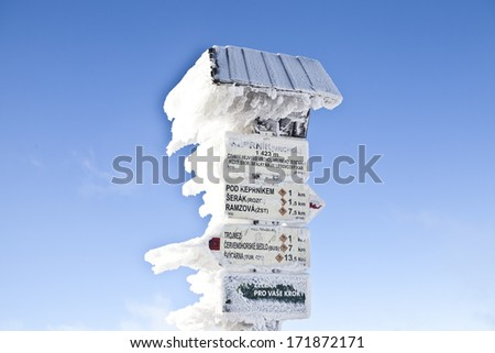 Frozen signs in Czech mountains - stock photo
