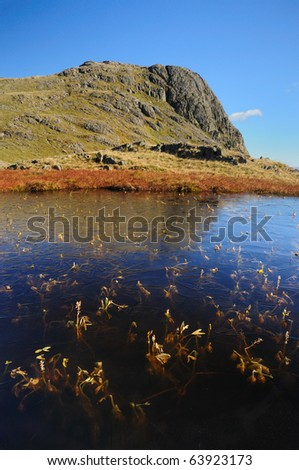 Frozen Tarn and Harrison Stickle at Great Langdale in the English Lake District - stock photo