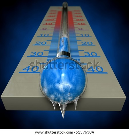 frozen thermometer - stock photo