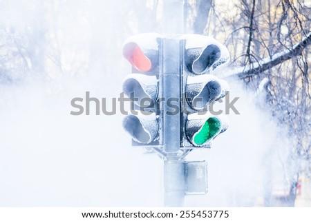 Frozen traffic lights - stock photo