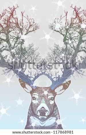 Frozen tree horn deer - stock photo