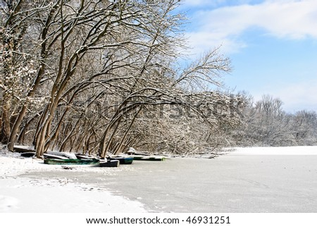 Frozen trees with lake and boats - stock photo