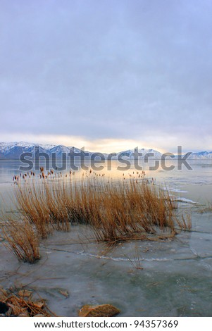 Frozen Utah lake - stock photo