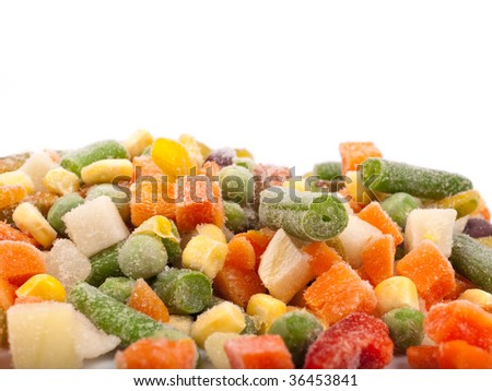 Frozen various vegetables against white background
