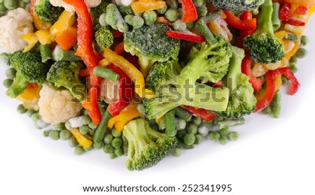 Frozen vegetables isolated on white - stock photo