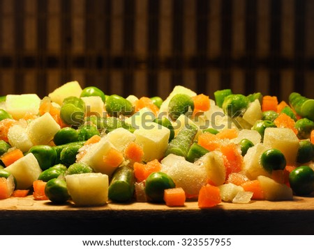 Frozen vegetables - peas, carrots, potatoes, beans.Frozen vegetables - peas, carrots, potatoes, beans. Beautiful and delicious. Vitamins - stock photo