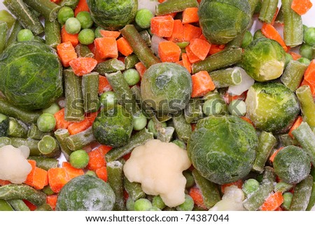 Frozen vegetables with ice crystals and frost. A series of food backgrounds - stock photo