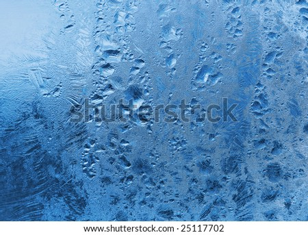 frozen water drops on window. winter texture. - stock photo
