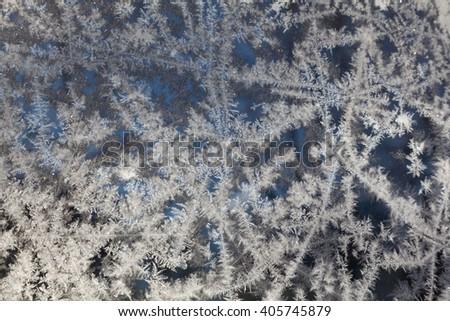 Frozen window pattern - stock photo