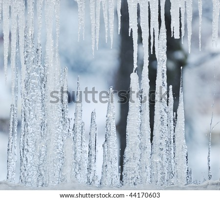 frozen window with ice background - stock photo