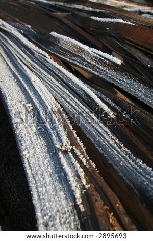 frozen wood structure - stock photo