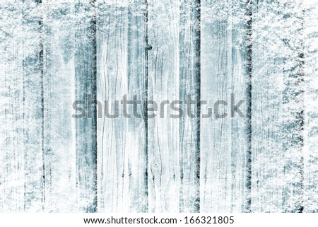 Frozen wooden in snow surface - stock photo