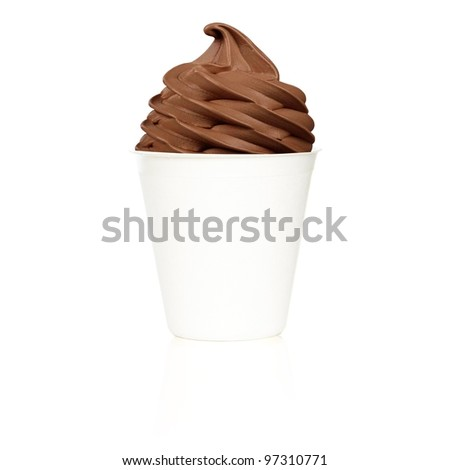 Frozen Yogurt chocolade small cup - stock photo
