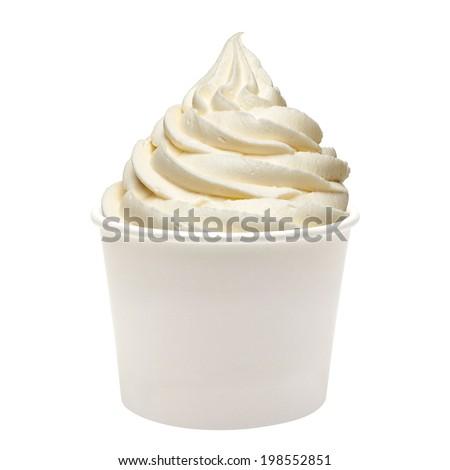 Frozen Yogurt Dessert with vanilla in blank paper cup on white background.  - stock photo