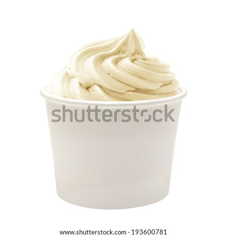 Frozen yogurt  in blank paper cup on white background - stock photo