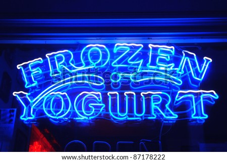 Frozen yogurt neon sign - stock photo