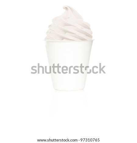 Frozen Yogurt plain small cup - stock photo