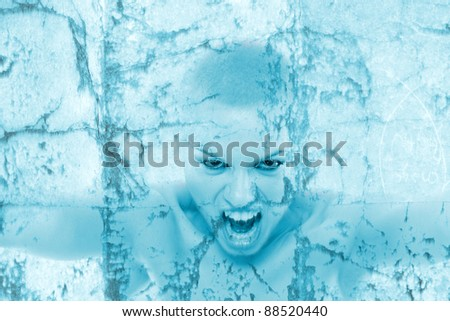 Frozen young woman screaming - stock photo