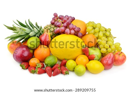fruit and berries isolated on a white background - stock photo