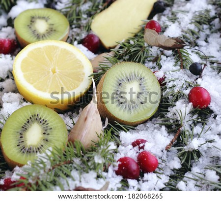 fruit and berries on a snow-covered fir branches - stock photo