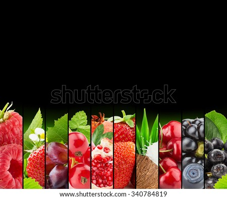 fruit and berry stripe collection on black background - stock photo